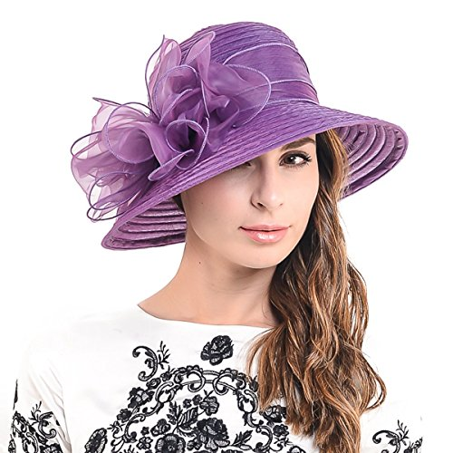 HISSHE Cloche Oaks Church Dress Bowler Derby Wedding Hat Party S015, Bow-purple, Medium ()