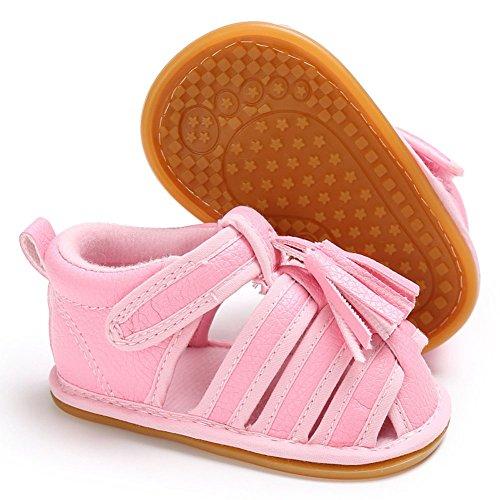 hibote Scarpe prewalker sandali antisdrucciolevoli del cuoio molle delle neonate dei neonati delle ragazze delle ragazze Pink 0-6M