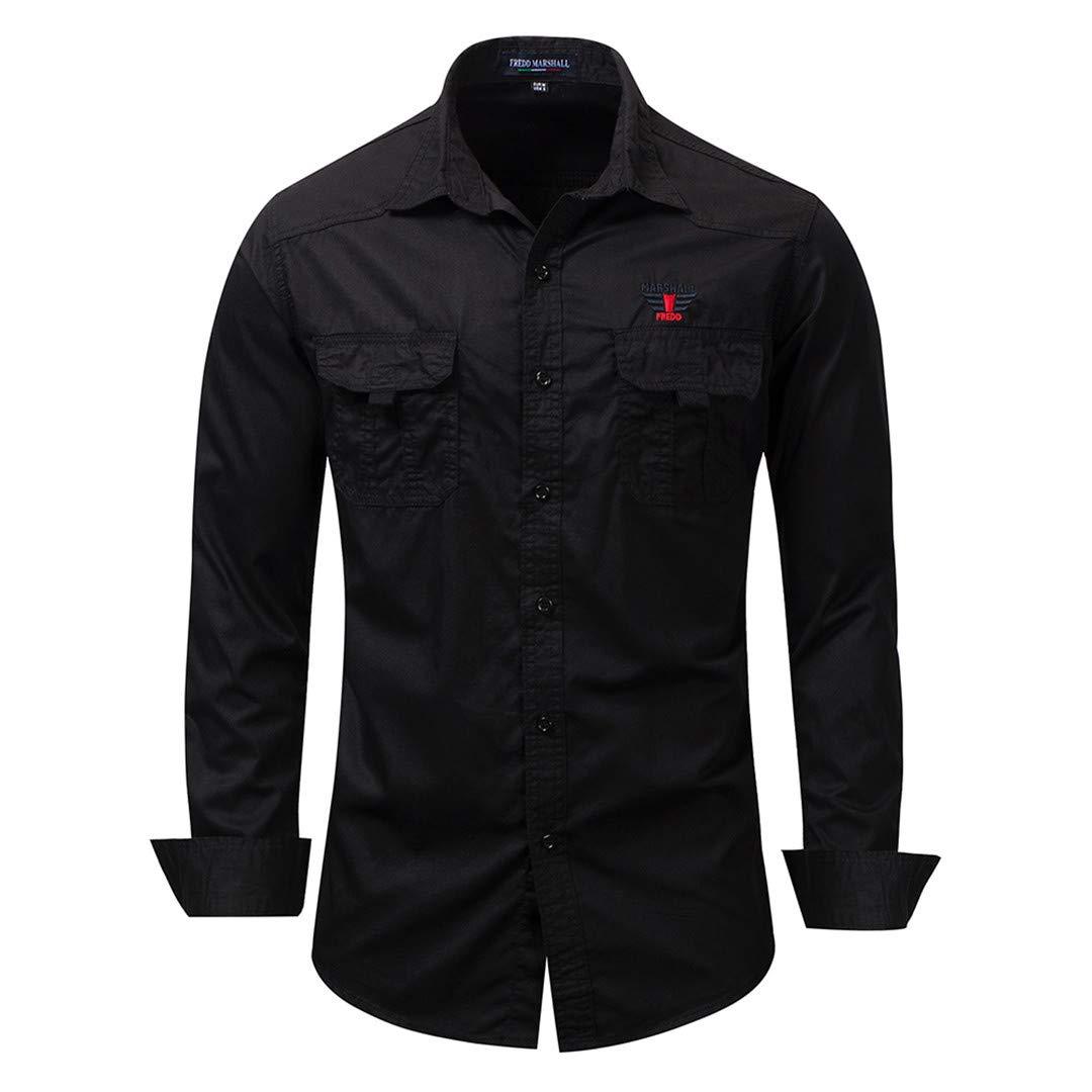 Mens Long Sleeve Classic Basic Denim Shirt 100/% Cotton Casual Business Work Shirts