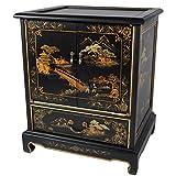 Oriental Furniture Japanese End Table – Black Landscape For Sale