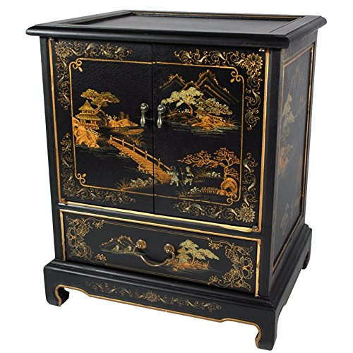 - Oriental Furniture Japanese End Table - Black Landscape