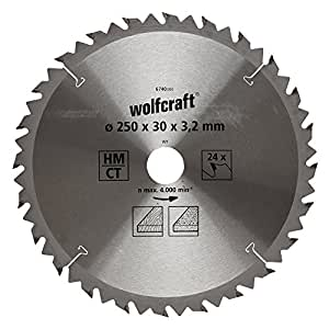 Wolfcraft 6740000 - Disco de sierra circular HM, 24 dient., serie marrón Ø 250 x 30 x 3,2 mm