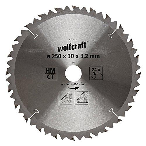 Wolfcraft 6740000 1 TischKreissägeblatt HM, 24 Zähne, ø 250 mm