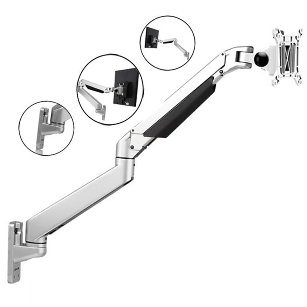HZYWL Premium Single Monitor Stand Lift Arm Air Pressure Rise Arm Mount 16-30''Monitors Computer Monitor Stand Aluminum Wall-Mounted