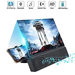 """12"""" Phone Screen Magnifier with Bluetooth Speaker, Mobile Phone 3D Magnifier Projector Screen for Movies, Videos, and…"""
