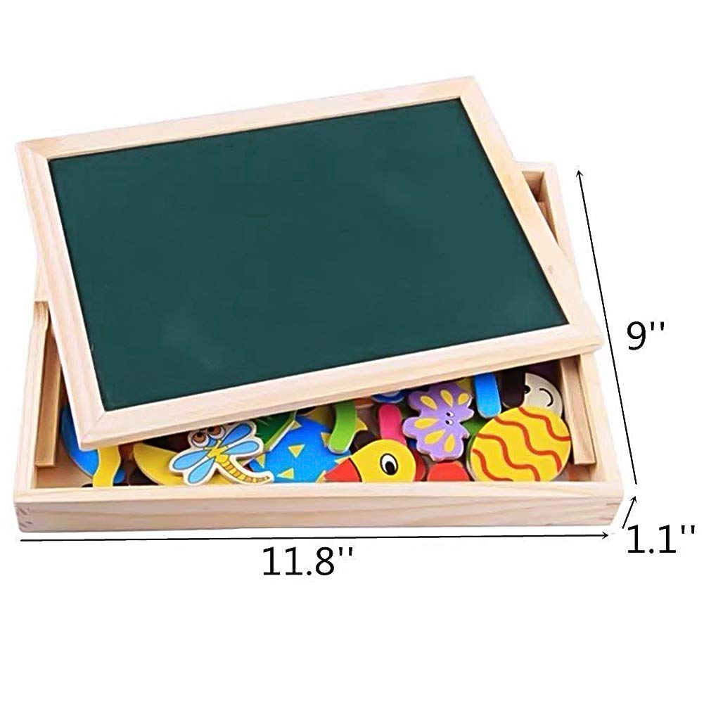 Wooden Magnets Montessori Toys Double Side Magnetic Drawing Board Frigerator Magnets Jigsaw Puzzle Set Educational Games for Kids Boys Girls 3 4 5 Years Old
