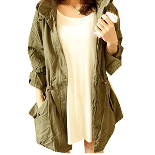 Taiduosheng Women's Army Green Anorak Jacket Lightweight Drawstring Hooded Military Parka Coat L ()