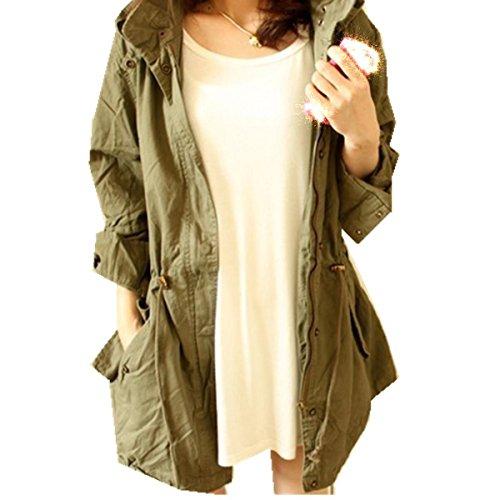 Taiduosheng Women's Army Green Anorak Jacket Lightweight Drawstring Hooded Military Parka Coat XL