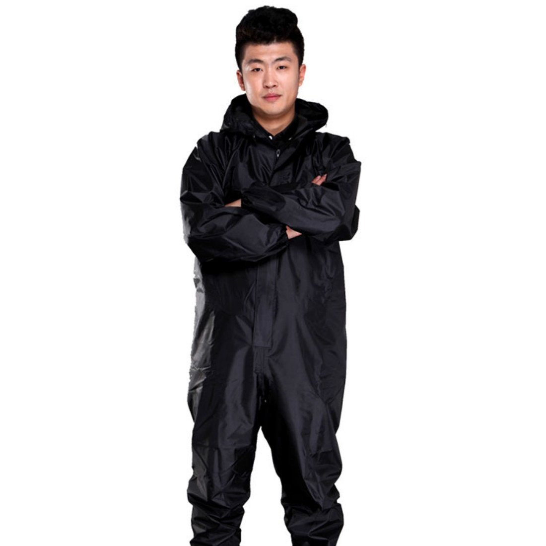 TongCart Men Waterproof Overalls Hooded Rain Coveralls Work Clothing Dust-Proof Paint Spray Male Raincoat Workwear Safety Suits S-XXXL