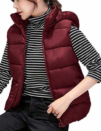 EMMA Donne Inverno Accogliente in Giacca Imbottita Zip Gilet Leggero Giubbotto con Cappuccio in Collo Alto,Senza Maniche Outwear Cappotto Rosso Vino