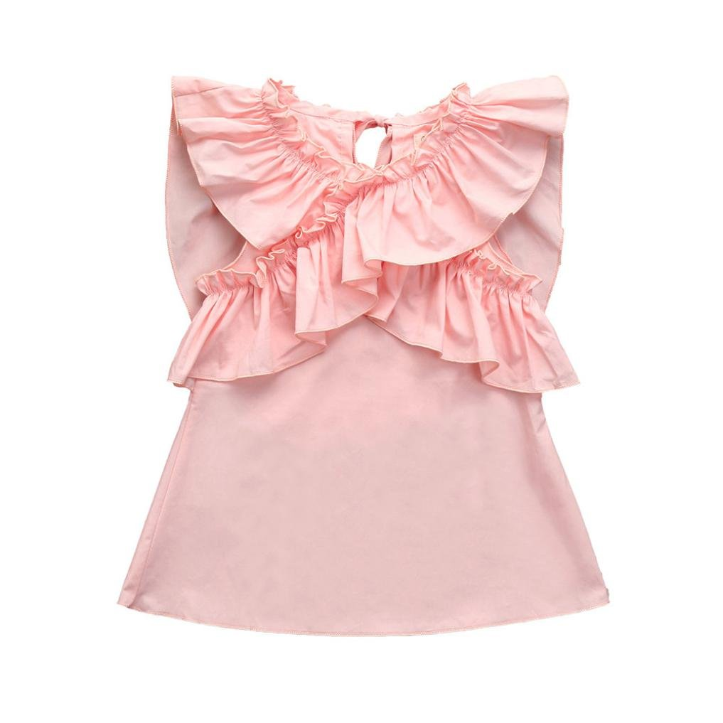 0-24M Baby Girls Spring Summer Ruffles Solid Sundress Tank Dress Sleeveless Skirts