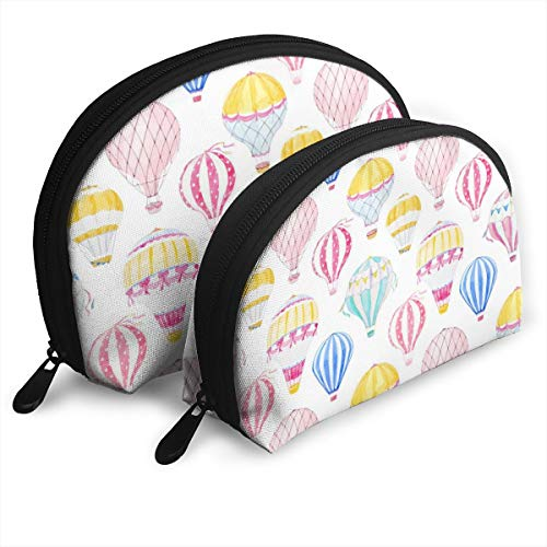 Taslilye Watercolor Air Baloon Pattern Vector Image Cosmetic Bag Shell Shape Large One for Ladies Cosmetics Storage]()