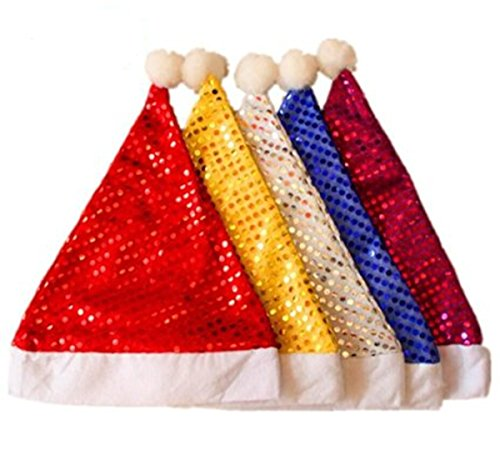 (Y&Y Star Pack of 5 Sequin Santa Christmas Hat for Adults Men & Women. Yellow, White, Blue,)