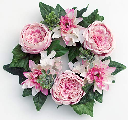 (ES ESSENTIALS Pink Cabbage Rose Dahlia Hydrangea Small Wreath Spring Summer, 6