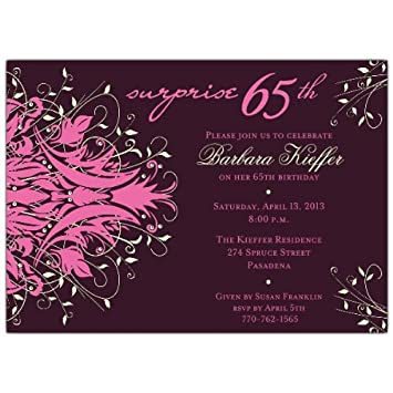 Image Unavailable Not Available For Color Andromeda Pink Surprise 65Th Birthday Invitations