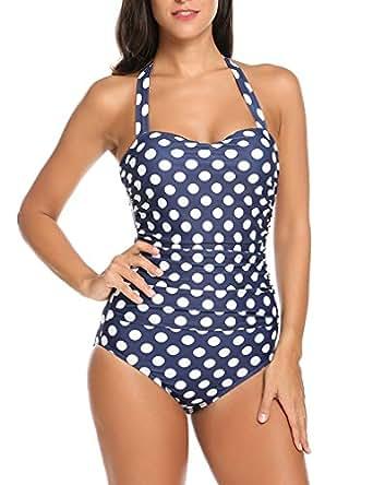 Qearal 50s Retro Vintage Polka Dot Halter One Piece Monokini Swimsuit (S, Blue)