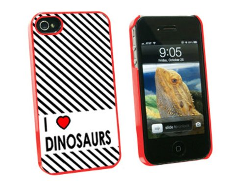 Graphics and More I Love Heart Dinosaurs Snap-On Hard Protective Case for Apple iPhone 4/4S - Non-Retail Packaging - Red