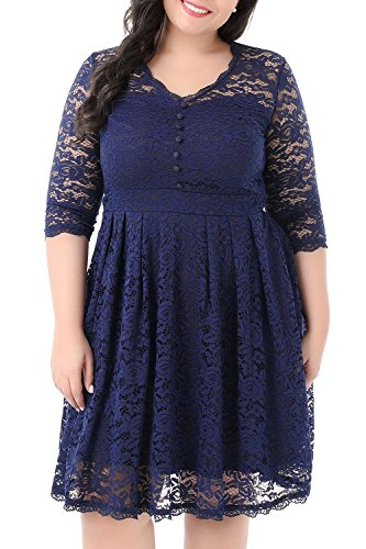 Nemidor Women's Half Sleeves Lace Overylay Plus Size Lace Cocktail Party Vintage Dress (Navy, 16W)