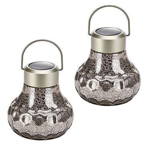 - HECARIM Hanging Solar Lantern Lights, Outdoor Decorative LED Solar Powered Garden Lantern, Waterproof Solar Table Lamp for Patio Landscape Yard, 2 Pack