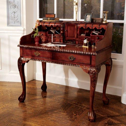 Hand Carved Secretary Desk - Antique Replica French Hand-carved Solid Hardwood Secretary Writing Desk