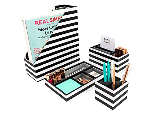 Blu Monaco Black - White Stripes Desk Organizers and Accessories - 4 Piece Desktop Cubicle Decor Set - Letter - Mail Organizer, Desk Organizer Caddy Tray Office Supplies, Pen Cup, Magazine File Holder