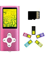 MP3 Player MP4 Player with a 16GB Micro SD Card, Runying Portable Music Player Support up to 64GB, Pink