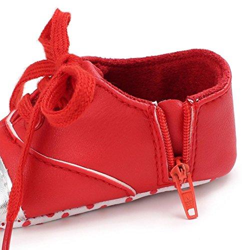 HUHU833 Unisex-Baby Neugeborene Säuglingsbaby Soft Crib Schuhe, Kleinkind Schuhe, Runde Zehe weiche alleinige Anti Rutsch Schuhe Rot