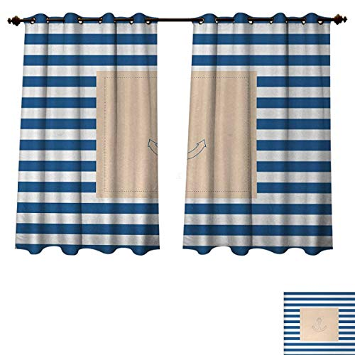 (Harbour Stripe Blackout Thermal Curtain Panel Maritime Anchor Figure Over Pastel Nautical Lines Ocean Design Patterned Drape for Glass Door Violet Blue Peach White W55 x L39 inch)