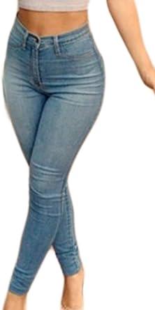 Pantalones De Mezclilla De Las Mujeres Up Cintura Zip Elastico Alta Skinny Stretch Jeans Largos Con Bolsillos Pantalones Al Aire Libre Jeans Amazon Es Ropa Y Accesorios