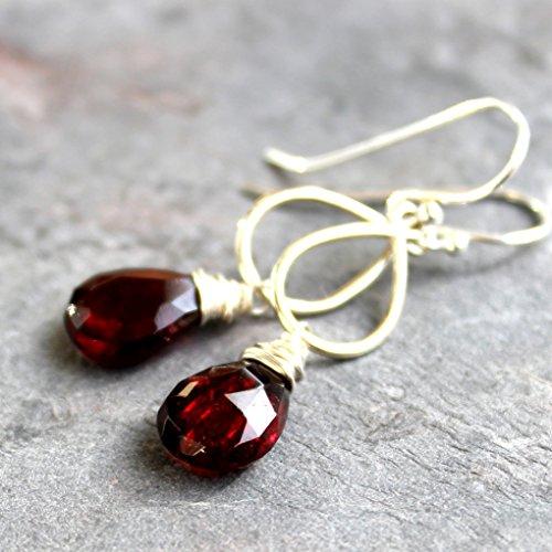 Teardrop Garnet Earrings Sterling Silver Dangling Briolettes Red Semi Precious (Bohemian Garnet Earrings)