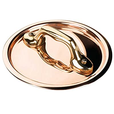 Mauviel - Collection m'minis - 9 cm lid (flat) with brass handle copper