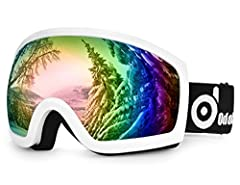 Description   Odoland Over-The -Glasses Ski Goggles, is an excellent goggles for men & women, even for people with glasses to enjoy in the ice world with a helmet, whether for skiing, skating or other winter snow sports. With an adjustable strap,...