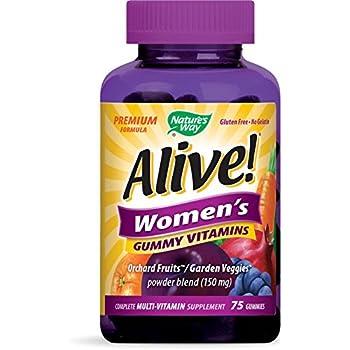 Nature's Way Alive!® Women's Premium Gummy Multivitamin, Fruit and Veggie Blend (150mg per serving), Full B Vitamin Complex, Gluten Free, Made with Pectin, 75 Gummies