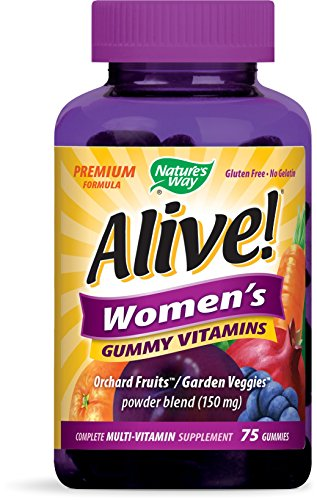 Nature's Way Alive!® Women's Premium Gummy Multivitamin, Fruit and Veggie Blend (150mg per serving), Full B Vitamin Complex, Gluten Free, Made with Pectin, 75 Gummies