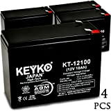 Exide 6V10K 12V 10Ah / REAL 10.0 Amp SLA Sealed Lead Acid AMG Rechargeable Replacement Battery Genuine KEYKO (W/F2 Terminal) - 4 Pack