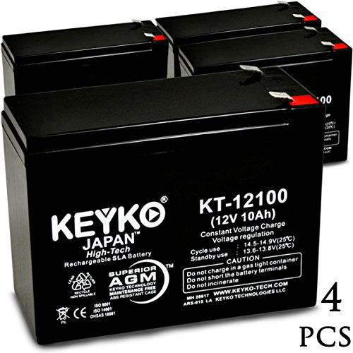EZIP SCOOTER 4.0, 400, 450, 500 12V 10.5Ah SLA Sealed Lead Acid AGM Rechargeable Replacement Battery Genuine KEYKO (W/F2 Terminal) - 4 Pack by KEYKO