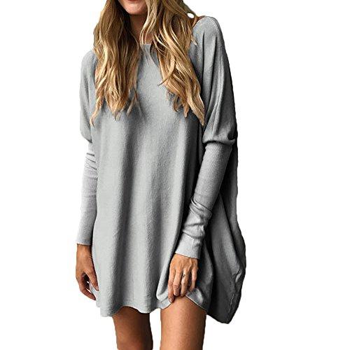 Multitrust Women Long Sleeve Loose Fit Tops Comfly Casual Tunic Tops T Shirt Dress (L, Gray)