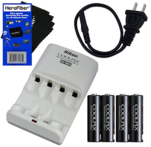 Nikon Coolpix MH-73 Rapid Battery Charger with Nikon 4 2300mAh Ni-MH AA Rechargeable Batteries - International Version (No Warranty) + AC Power Cord w/ HeroFiber Ultra Gentle Cleaning Cloth (Nikon Rechargeable Batteries compare prices)