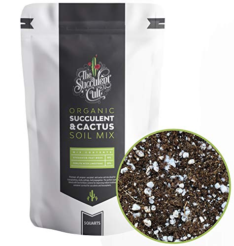 Premium Organic Succulent & Cactus Soil Mix, Fast Draining Pre-Mixed Blend (3 Dry Quarts)