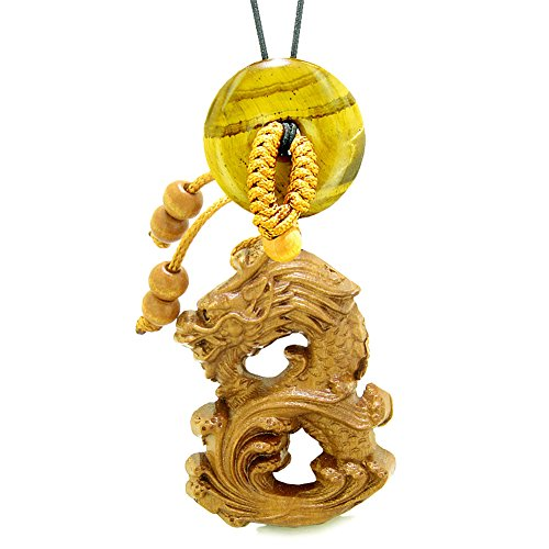 Brave Magic Dragon Lucky Car Charm or Home Decor Tiger Eye Donut Protection Powers Amulet