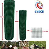 G4RCE 1' x 1' Green PVC Coated Welded Mesh Wire 30m or 45m roll in 2 widths Chicken Rabbit Animal Fence Steel Metal Garden Netting Fencing (1.2M X 30M)