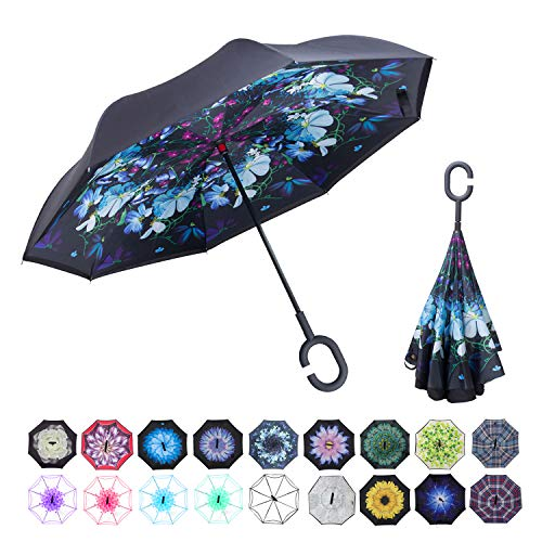 WASING Inverted Umbrella Double Layer Windproof Reverse ()