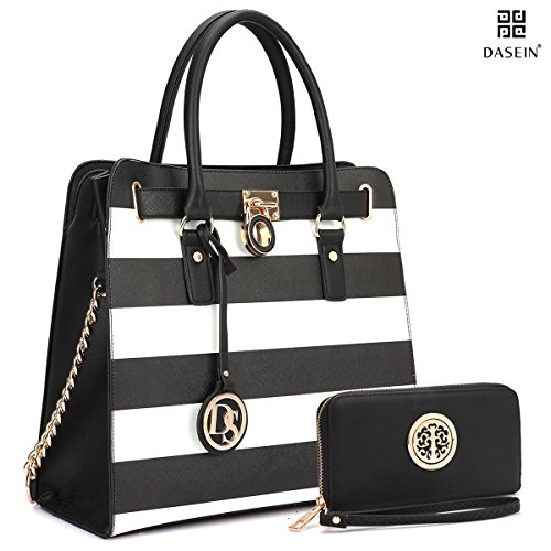 Dasein Large Saffiano Stripe Accent Leather Tote Briefcase Satchel Bag Come with (Studded Satchel Bag)