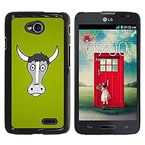 Paccase / SLIM PC / Aliminium Casa Carcasa Funda Case Cover para - Popular Cow Grey Portrait Green Farming Animal - LG Optimus L70 / LS620 / D325 / MS323