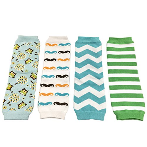 Wrapables Colorful Baby Leg Warmers Set of 4, Owl, Mustache, Blue Chevron, Green/White Stripes (Stripe White Babylegs)