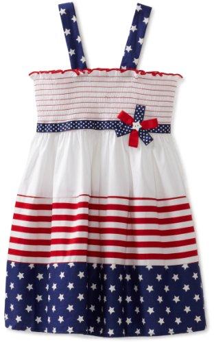 Bonnie Jean Little Girls' Dress Smocked Bodice Stripe Print Skirt