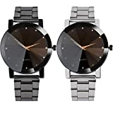 YANG-YI Fashion Women Crystal Stainless Steel Analog Quartz Round Wrist Watch Bracelet