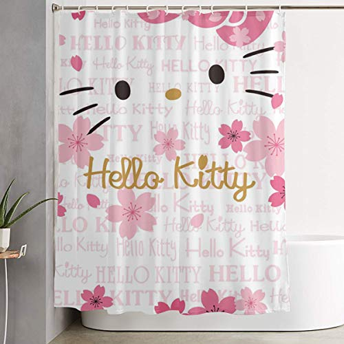 (LIUYAN Shower Curtain with Hook - Hello Kitty Face Waterproof Polyester Fabric Bathroom Decor 60 X 72 Inches )