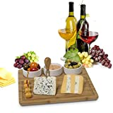 Bamboo Cheese Board and Meat Serving Platter - with 3 Removable Ceramic Bowls Server Set. for Salads and Appetizers. Perfect Gift Idea Life Time Warranty, by House Ur Home