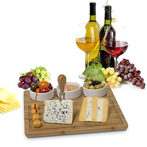 Ceramic Cheese Platter (Bamboo Cheese Board And meat Serving Platter - With 3 Removable Ceramic Bowls Server Set For Salads And Appetizers. Perfect Gift Idea Life Time Warranty, By House Ur Home)